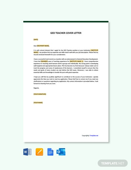 Free GED Teacher Cover Letter Template