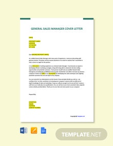 Free General Sales Manager Cover Letter Template