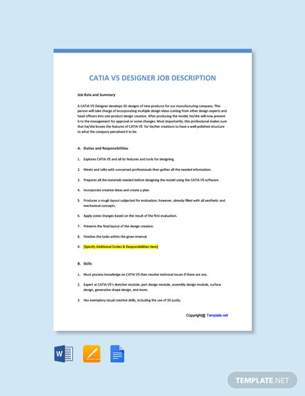 Free Catia V5 Designer Job Ad Description Template Word Apple Pages Google Docs