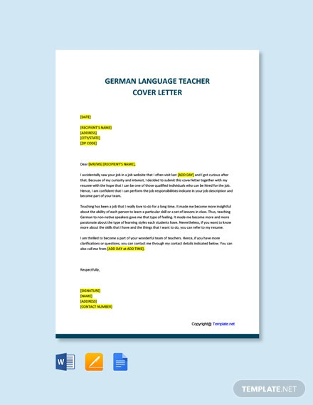 Free German Language Teacher Cover Letter Template