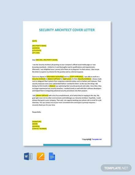 Free Security Architect Cover Letter Template