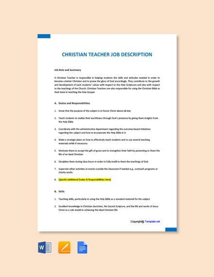 Free Christian Teacher Job Ad/Description Template