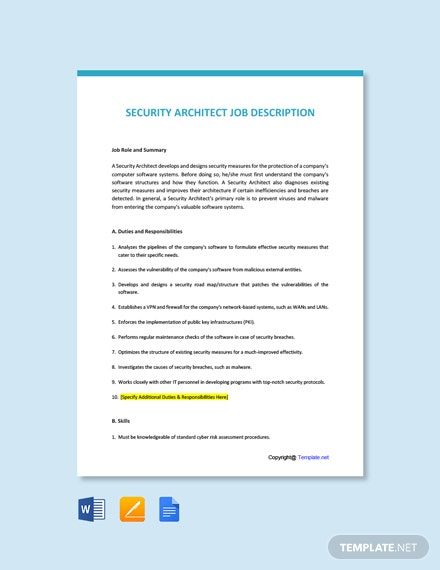 Free Security Architect Job Ad/Description Template