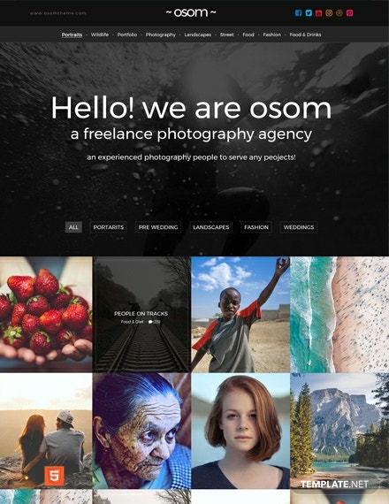 Free Freelance Photographer HTML5/CSS3 Website Template