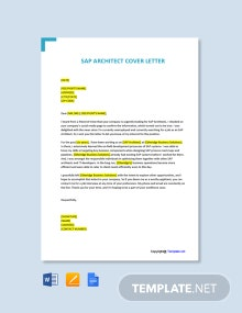 Free SAP Architect Cover Letter Template