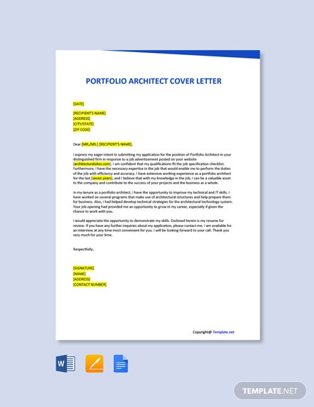 Free Portfolio Architect Cover Letter Template