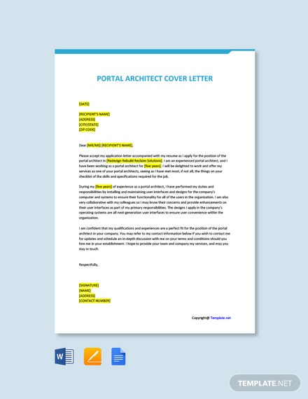 Free Portal Architect Cover Letter Template