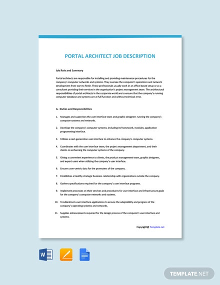 Free Portal Architect Job Description Template