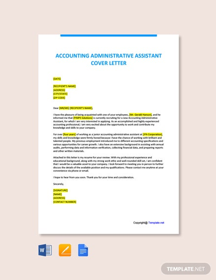 Free Accounting Administrative Assistant Cover Letter Template