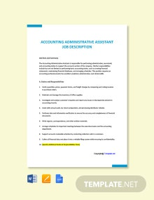 Free Accounting Administrative Assistant Job Ad/Description Template