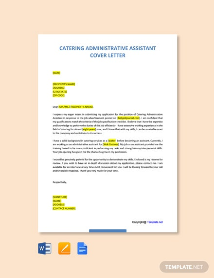 Free Catering Administrative Assistant Cover Letter Template