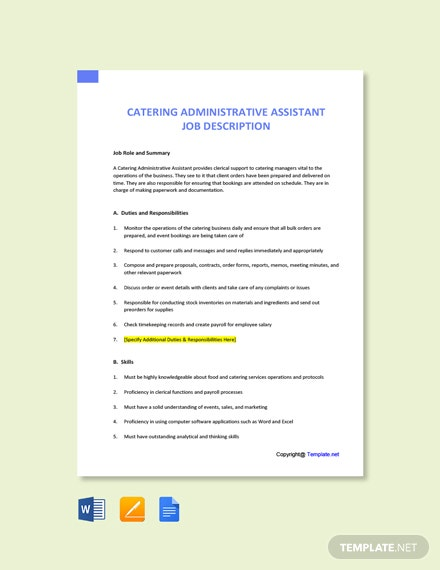 Free Catering Administrative Assistant Job Description Template