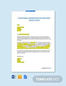 Free Functional Administrative Assistant Cover Letter Template
