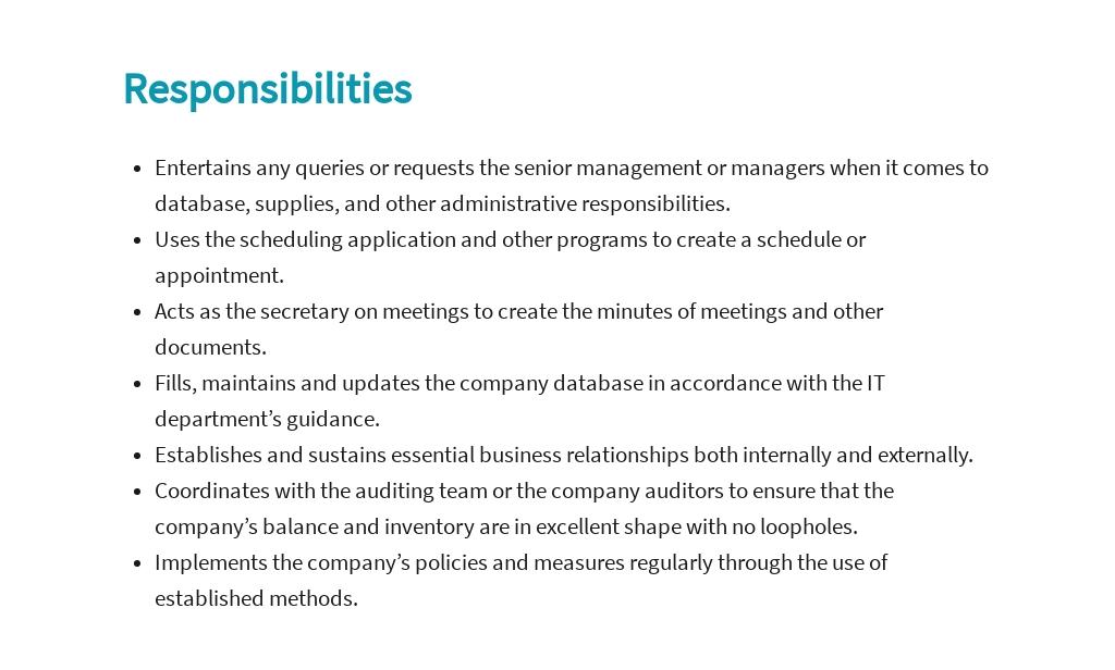 Free Functional Administrative Assistant Job Ad/Description Template 3.jpe