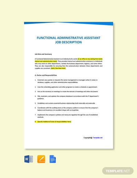 Free Functional Administrative Assistant Job Ad/Description Template