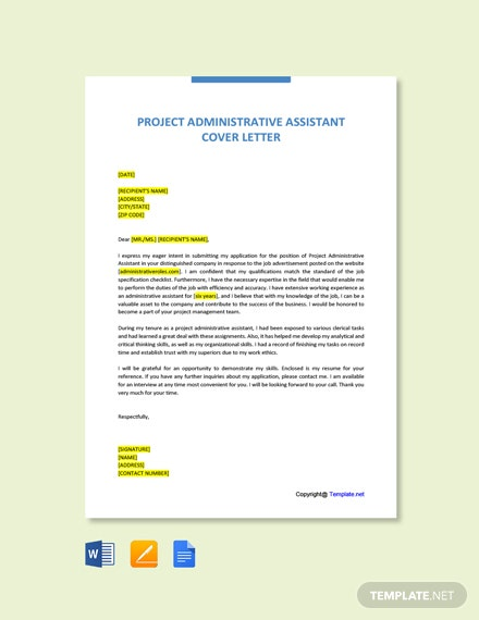 Free Project Administrative Assistant Cover Letter Template