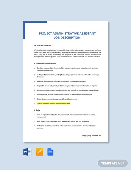 Free Project Administrative Assistant Job Description Template