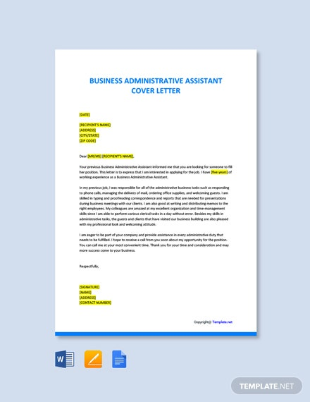 Free Business Administrative Assistant Cover Letter Template