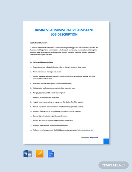 Free Business Administrative Assistant Job Ad/Description Template