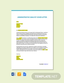 Free Administrative Analyst Cover Letter Template