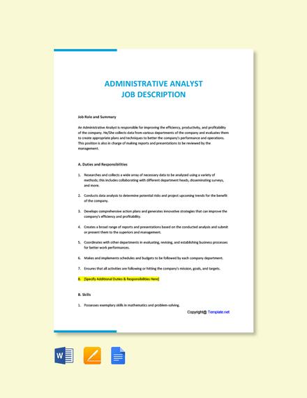 Free Administrative Analyst Job Ad/Description Template