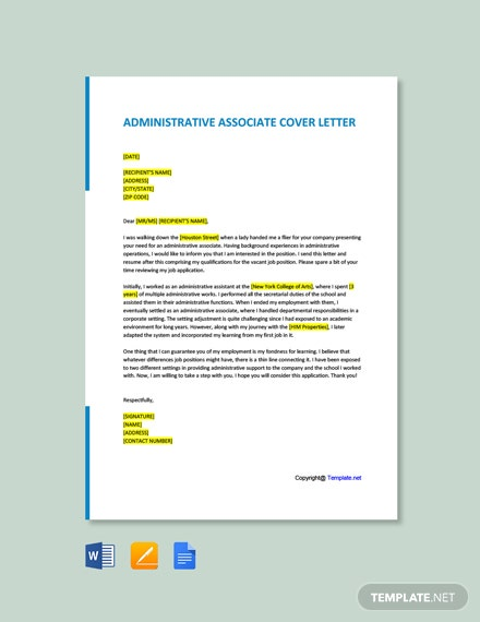 Free Administrative Associate Cover Letter Template