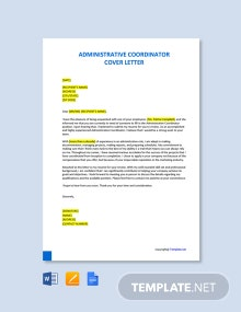 Free Administrative Coordinator Cover Letter Template
