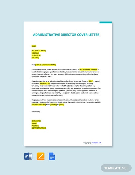 Free Administrative Director Cover Letter Template