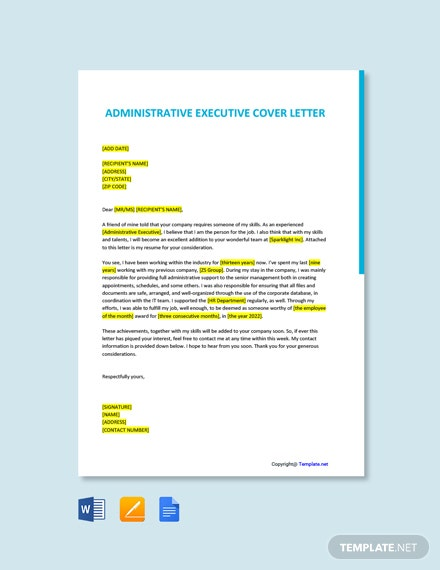 Free Administrative Executive Cover Letter Template