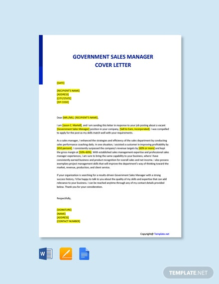 Free Government Sales Manager Cover Letter Template