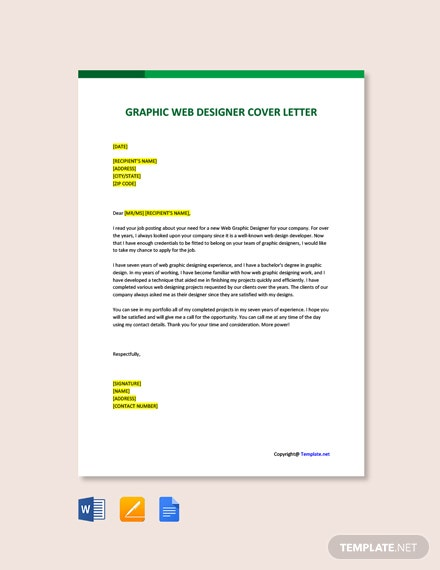 Free Graphic Web Designer Cover Letter Template