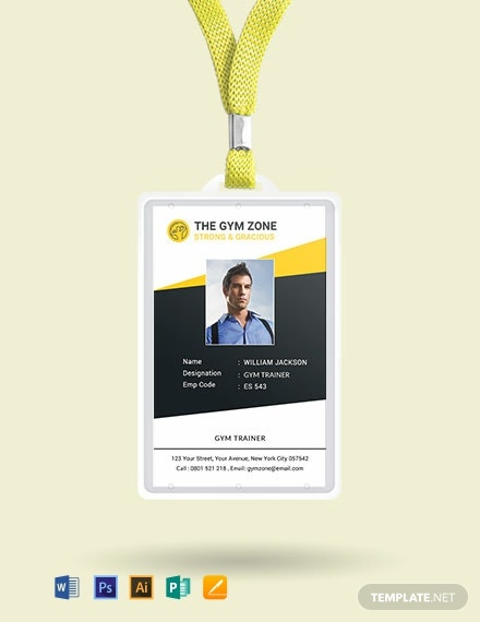 Free Gym Identity Card Template