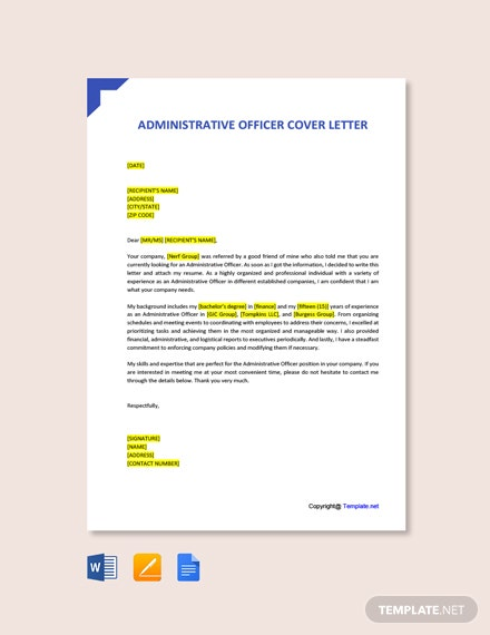 Free Administrative Officer Cover Letter Template