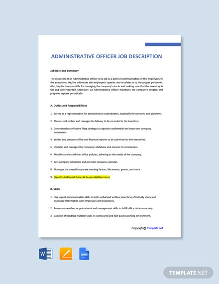 Free Administrative Officer Job Description Template
