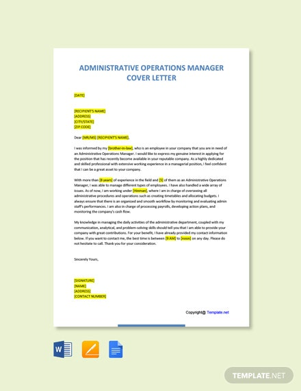 Free Administrative Operations Manager Cover Letter Template