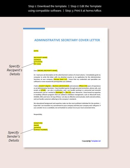 Administrative Secretary Cover Letter Template