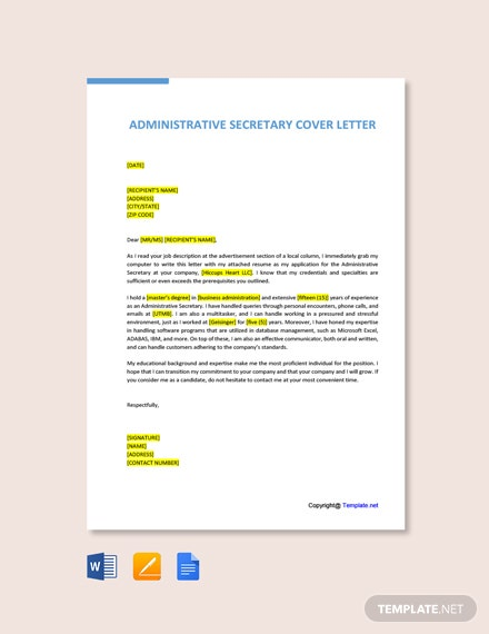 Free Administrative Secretary Cover Letter Template