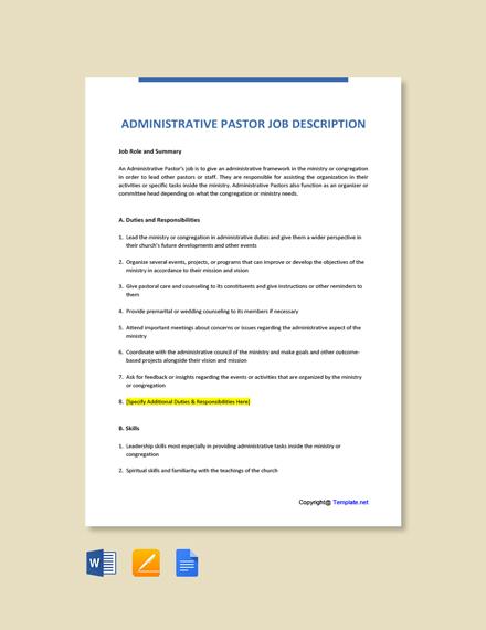 Free Administrative Pastor Job Ad/Description Template