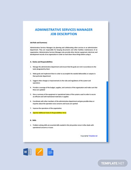 Free Administrative Services Manager Job Ad/Description Template
