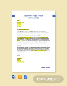 Free Assistant Video Editor Cover Letter Template