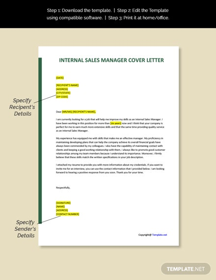 Internal Sales Manager Cover Letter Template