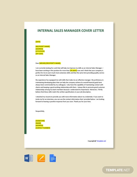 Internal Sales Manager Cover Letter