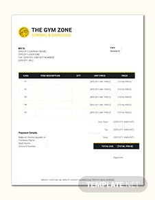 Gym Invoice Template