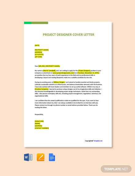 Free Project Designer Cover Letter Template