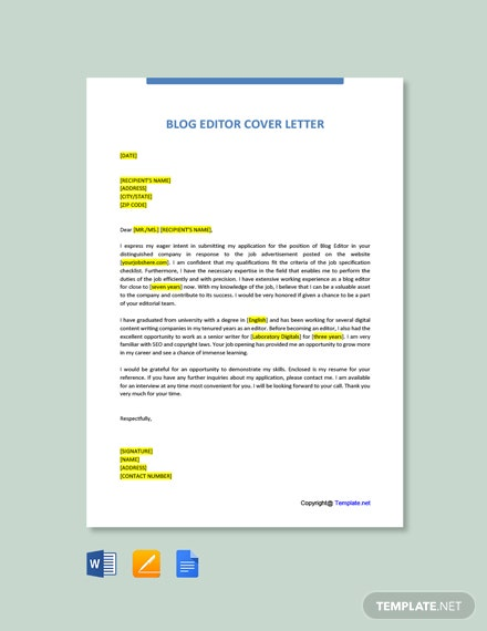 Free Blog Editor Cover Letter Template