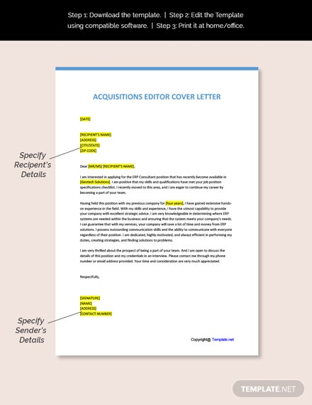 Acquisitions Editor Cover Letter Template