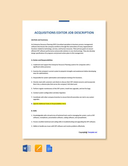 Free Acquisitions Editor Job Ad/Description Template