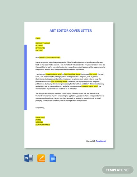 Free Art Editor Cover Letter Template