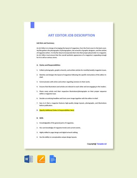 Free Art Editor Job Description Template