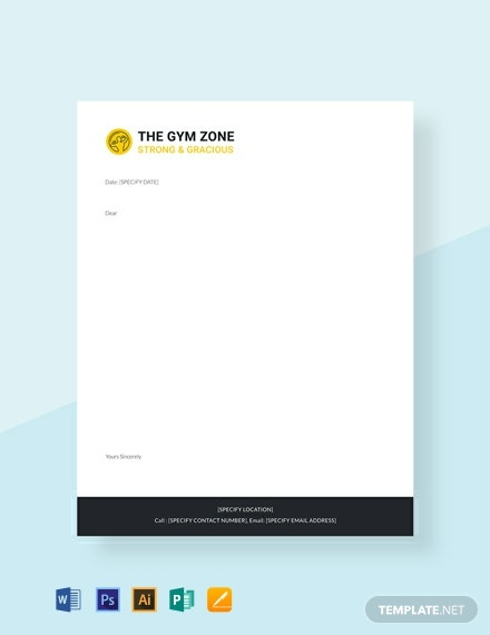free gym letterhead template  download 141  letterheads in